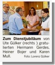 Ems-Zeitung vom 15.08.2017 über Ute Gülker