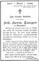 Totenzettel Johann Tangen aus dem Jahr 1897