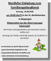 Einladung zur Familienmesse und in die Bücherei