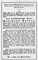 Totenblatt des ersten Wippinger Pastors Hermann Grüter