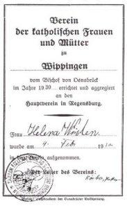 Mitgliedsausweis von Helena Wösten im Mütterverein Wippingen 1930, Foto aus Chronik der Gemeinde Wippingen, Seite 262