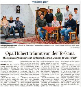 Ems-Zeitung vom 11.02.2019, Vorbericht Theatergruppe Wippingen