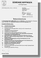 Einladung Gemeinderatssitzung Wippingen am 14.3.2019