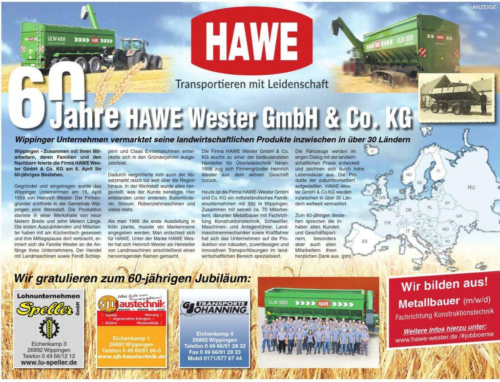 Anzeige der Firma HAWE-Wester in der Ems-Zeitung vom 20.04.2019
