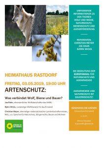 """Flyer zur Veranstaltung der Grünen """"Rückkehr der Wölfe"""""""