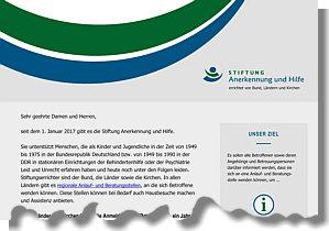 Flyer der Stiftung Anerkennung und Hilfe