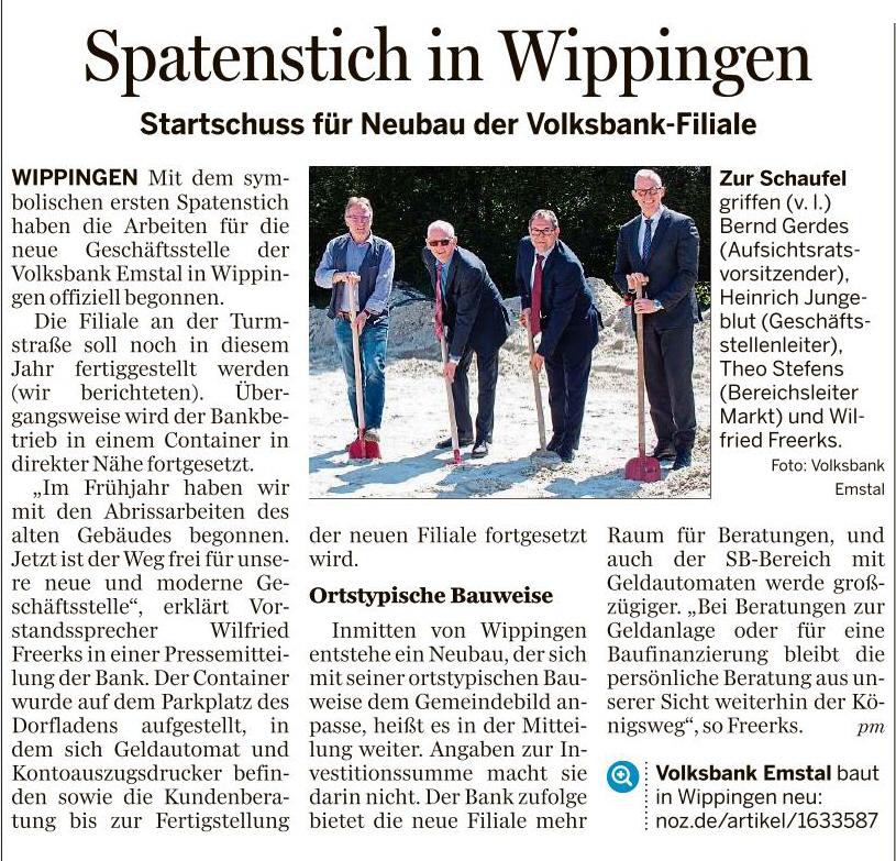 Ems-Zeitung vom 17.05.2019 - Spatenstich Volksbankgebäude in Wippingen