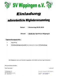 Flyer des SV Wippingen mit Einladung zur außerordentlichen Mitgliederversammlung