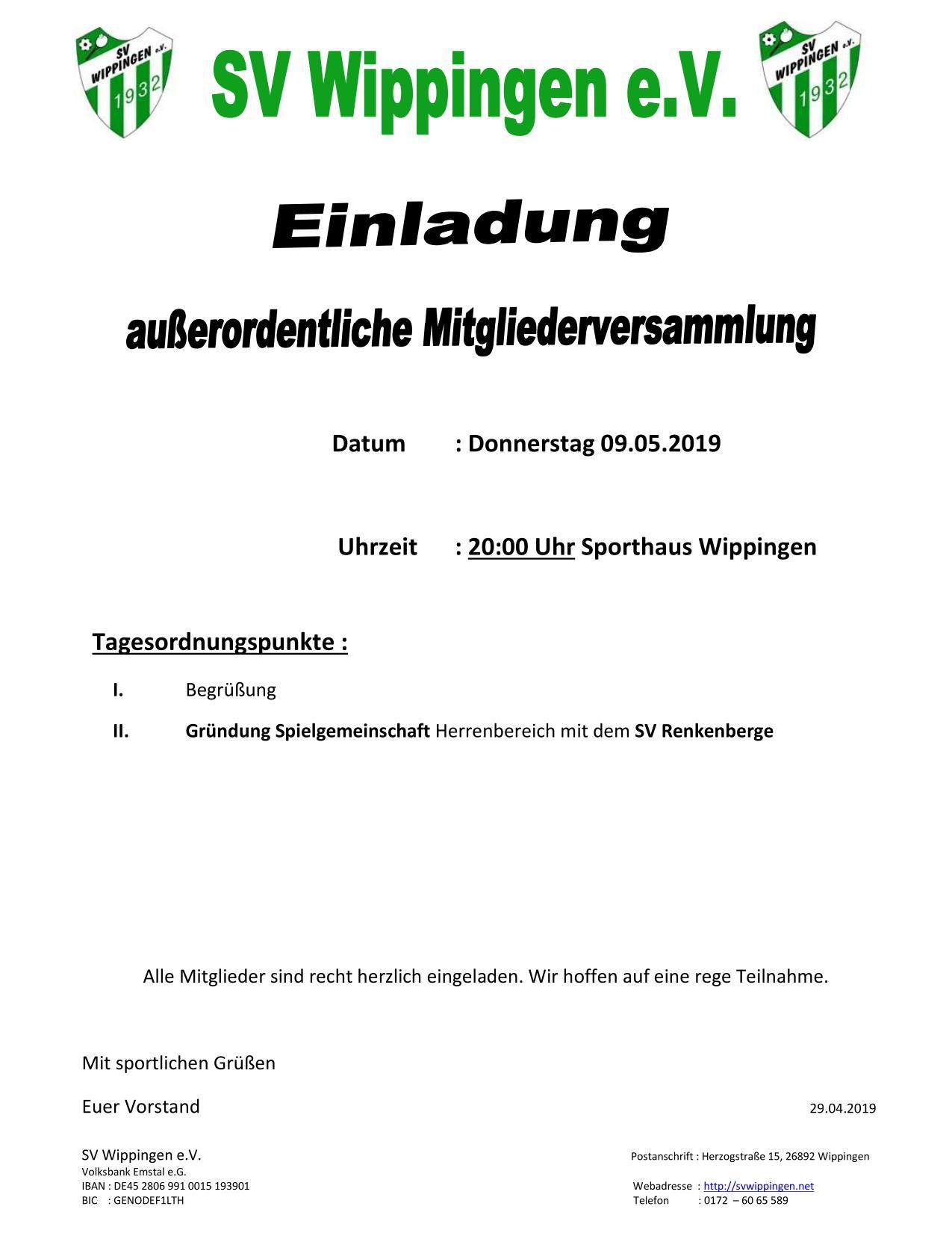 Ausserordentliche Mitgliederversammlung Des Sportvereins Hallo Wippingen