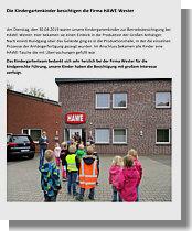 Kindergartenbericht über Besuch bei Firma HAWE-Wester 04/2019