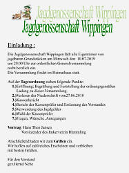 Einladung der Jagdgenossenschaft Wippingen 2019