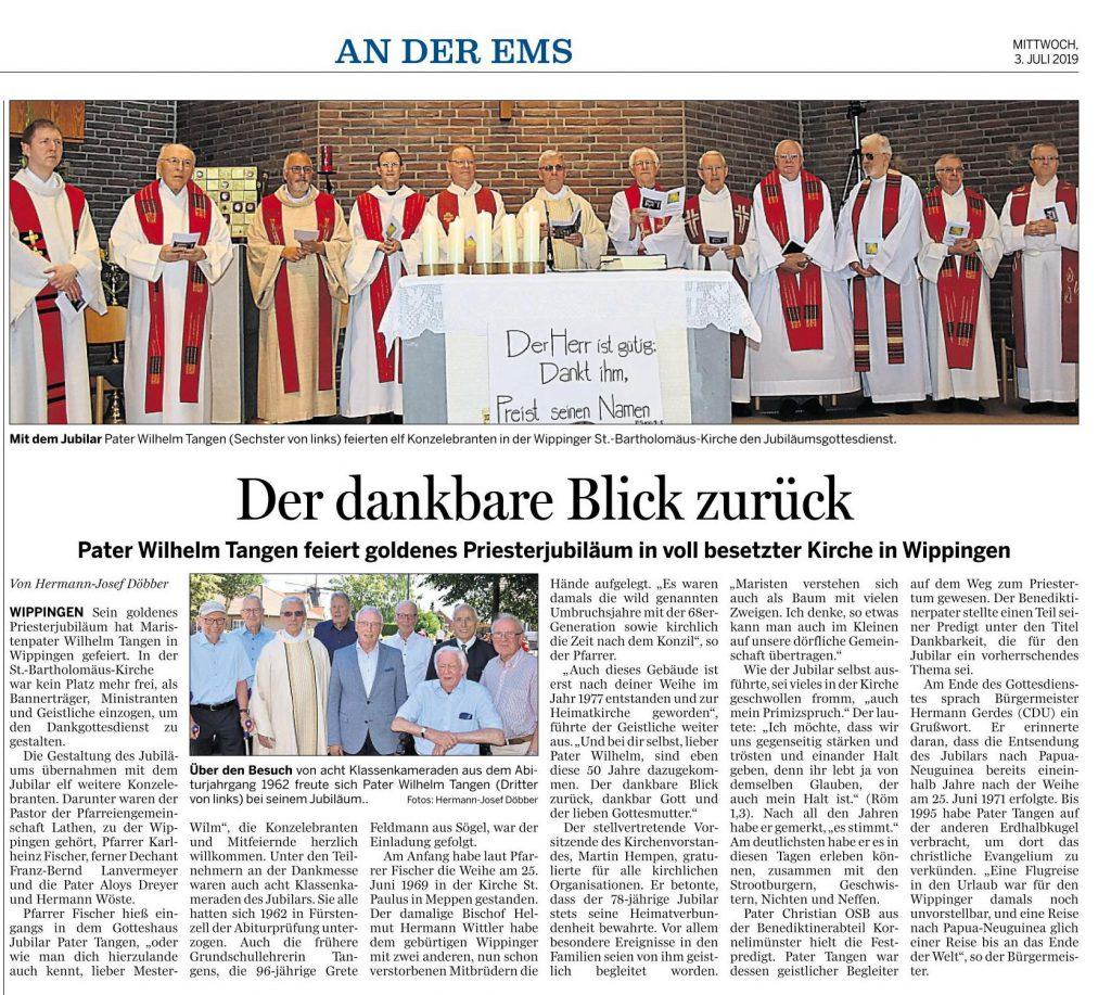 Ems-Zeitung vom 03.07.2019 über die Feier zum Priesterjubiläum von Pater Tangen