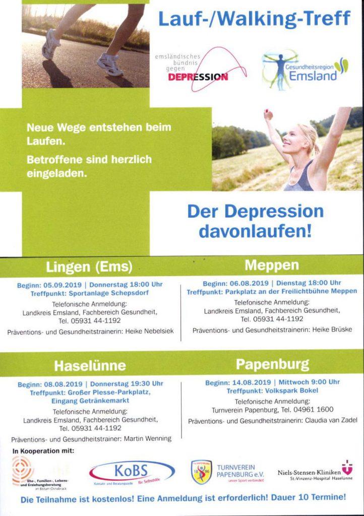 Flyer zum Lauftreff für Betroffene von Depression