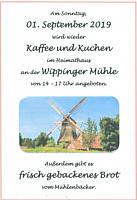 Flyer: Kaffee und Kuchen im Heimathaus am 1.September 2019