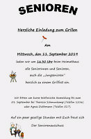 Flyer Seniorenausschuss Grillen 2019