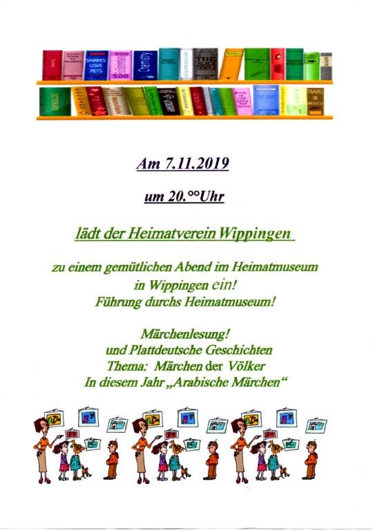 Flyer des Heimatvereins: Märchen der Völker am 7.11.2019