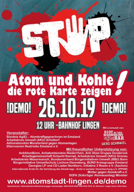 """Flyer für die Demo """"Atom und Kohle die rote Karte zeigen"""" in Lingen am 26.10.2019"""