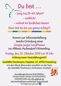 Flyer Gründung Junge LandFrauen Altkreis Aschendorf-Hümmling 25. Oktober 2019