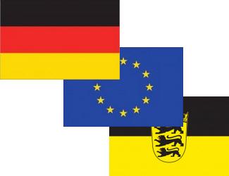Deutschlandflagge, die Europaflagge und die Flagge von Baden-Württemberg