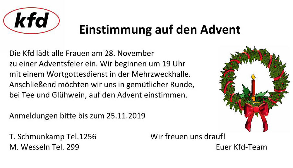 Flyer Adventsfeier KFD Wippingen
