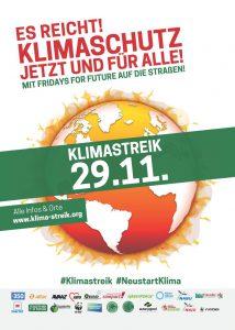 Flyer des Unterstützungsbündnisses zum Klimastreiktag 29.11.2019