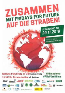 Flyer zur Klimademo in Papenburg am 29.11.2019