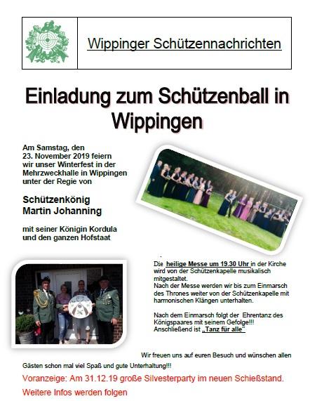 Flyer des Schützenvereins zum Winterball 2019