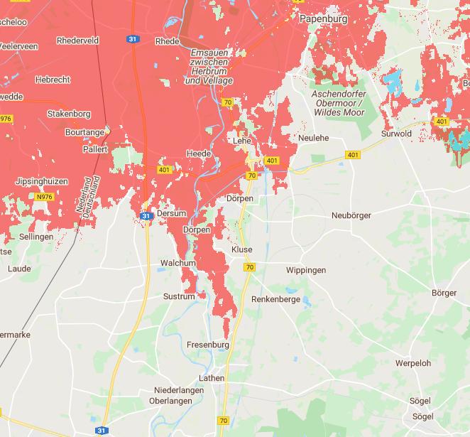 Die Überflutungsgebiete ab 2050 sind rot gekennzeichnet. (Quelle Climate Central)