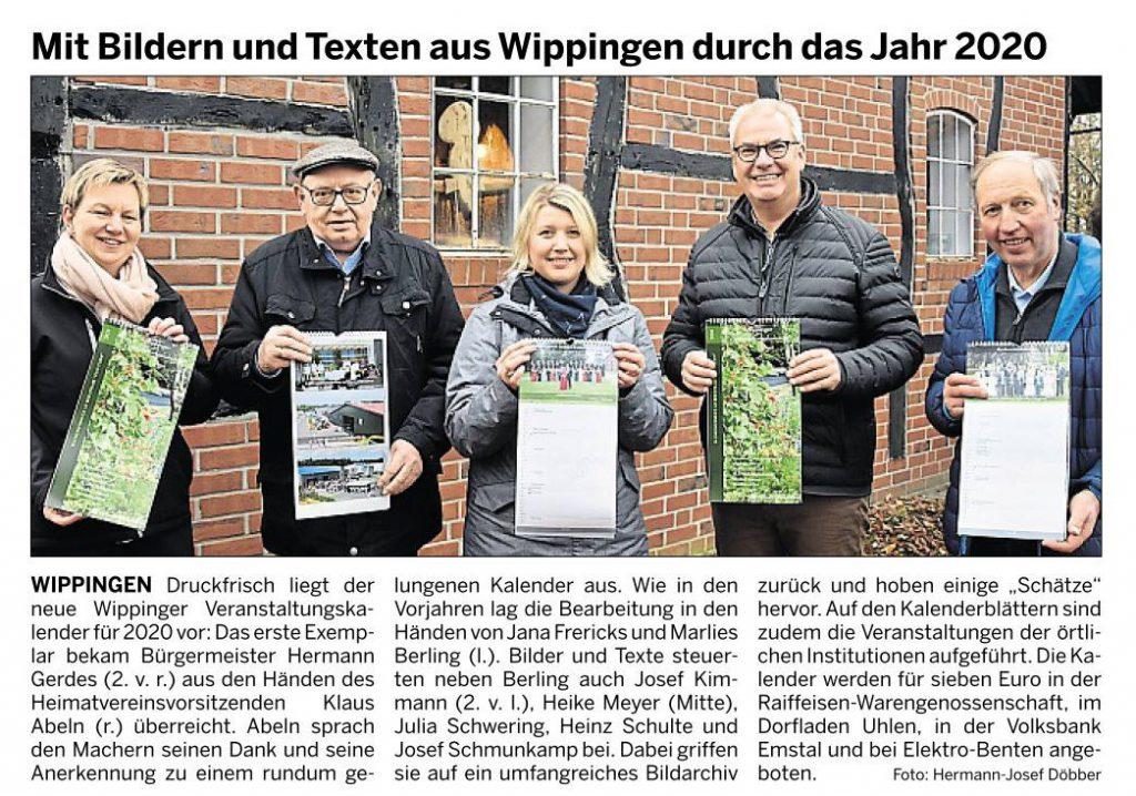 Ems-Zeitung vom 11.12.2019 - Vorstellung des Heimatkalenders