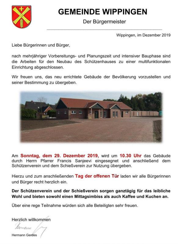 Flyer Einladung zur Einweihung des Schützenhauses Wippingen am 29.12.2019