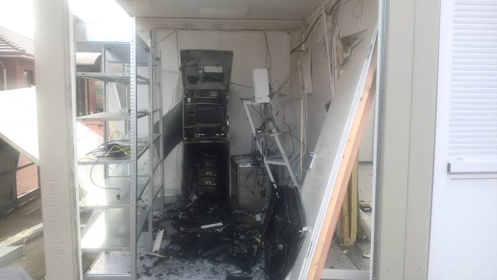Volksbank Wippingen nach der Sprengung des Geldautomaten am 23.01.2020