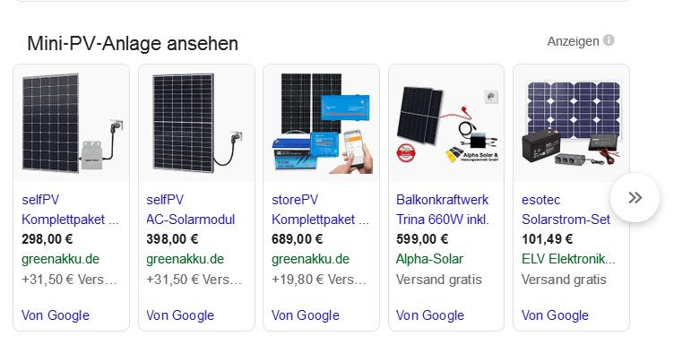 Ergebnis einer Google-Suche nach Mini-Photovoltaikanlagen