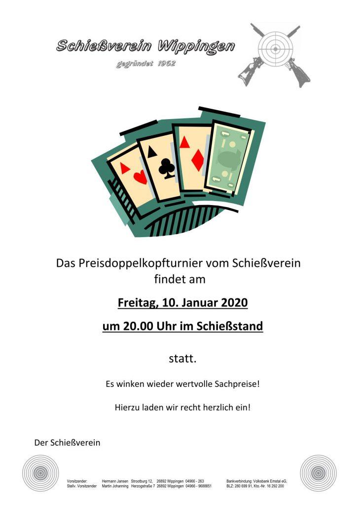Flyer zum Preisdoppelkopfturnier am 10.01.2020