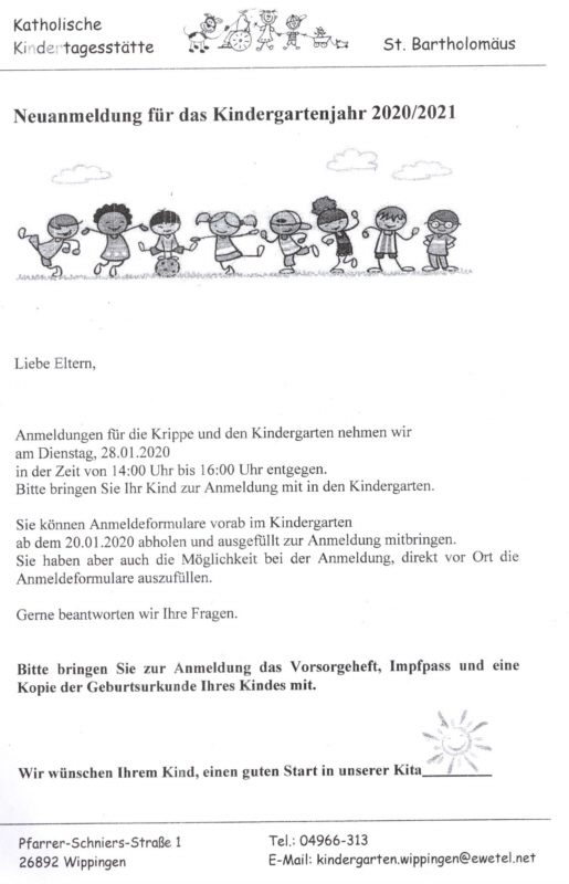 Flyer der Kita zur Neuanmeldung im Kindergartenjahr 2020/2021