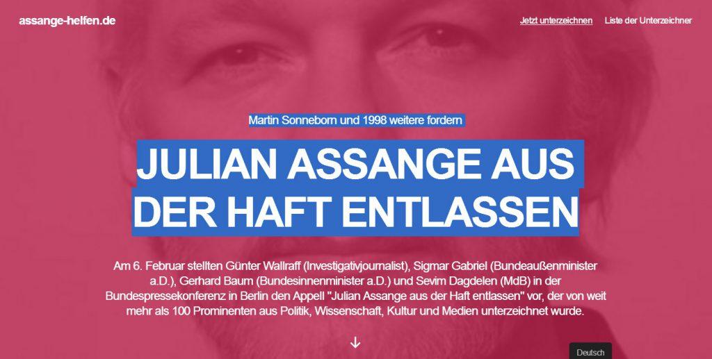 """Screenshot von """"Assange-helfen.de"""""""