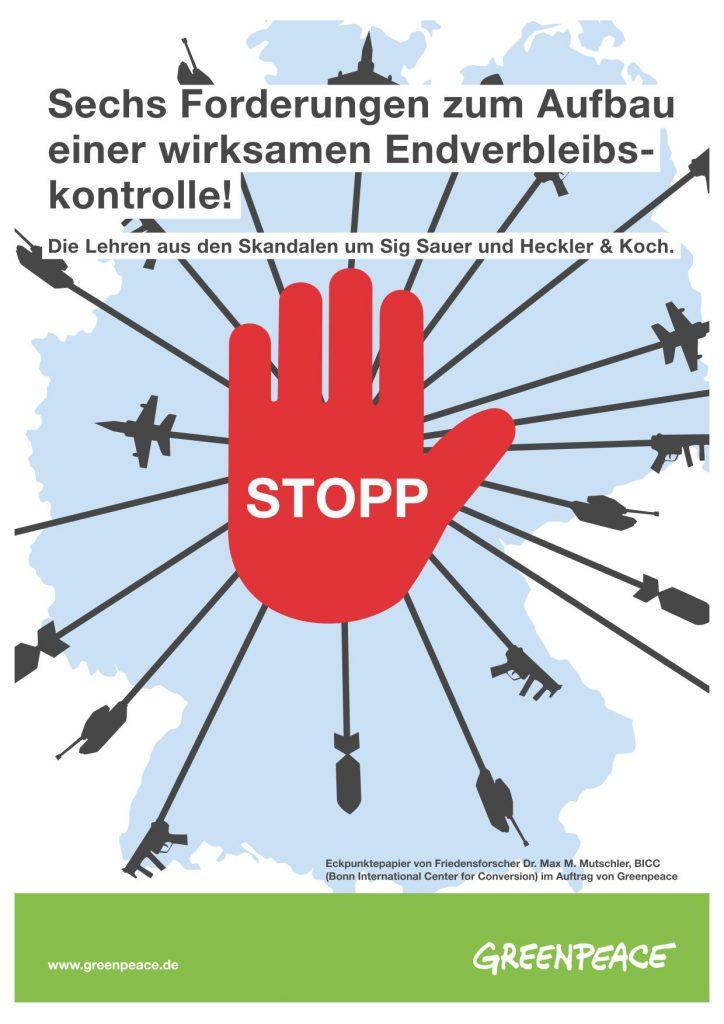 Deutschland gehört weltweit zu den führenden Waffenexporteuren. Greenpeace hat sechs Forderungen zur Endverbleibskontrolle
