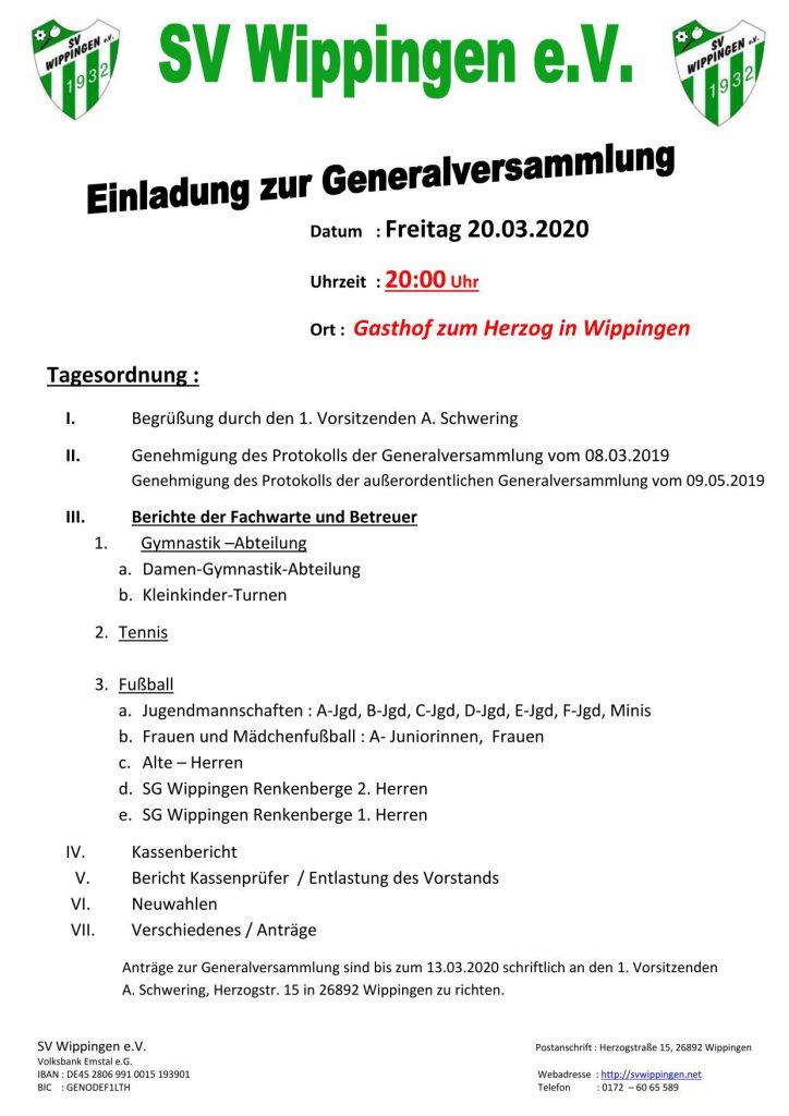 Einladung des SV Wippingen zur Generalversammlung am 20.03.2020