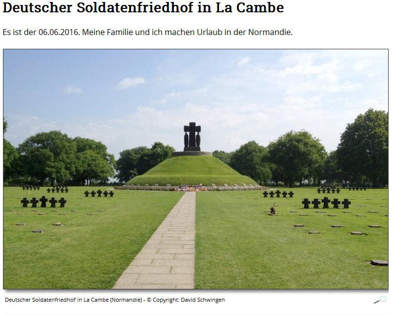 Deutscher Soldatenfriedhof La Cambe in Frankreich - Linlk zur Homepage