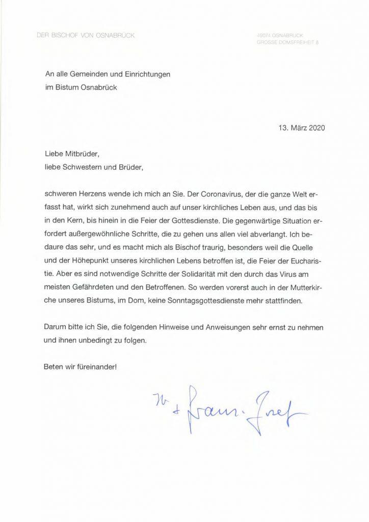 Brief von Bischof Franz-Josef Bode an die Gemeinden, 13.03.2020