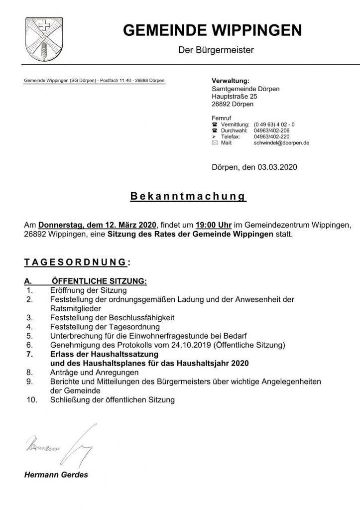 Einladung zur Gemeinderatssitzung 03-2020 Wippingen