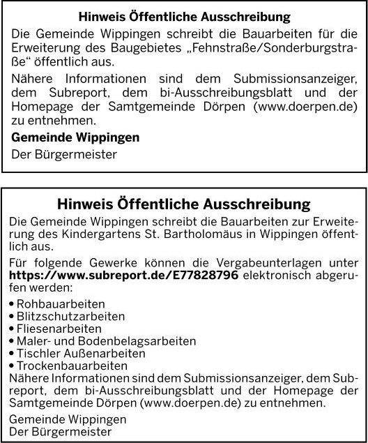 Ausschreibungen für die Arbeiten zum neuen Wohngebiet Fehnstraße/Sonderburgstraße, sowie die Arbeiten für den Anbau des Kindergartens vom 14.03.2020