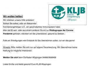 Flyer der KLJB Wippingen: Hilfsangebot für ältere Mitbürger