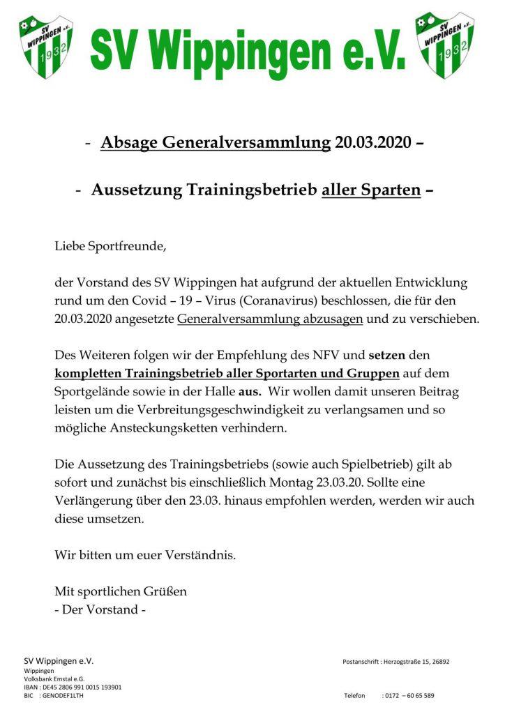 Flyer SV Wippingen vom 16.03.2020 zu den Folgen des Coronavirus für den Spielbetrieb