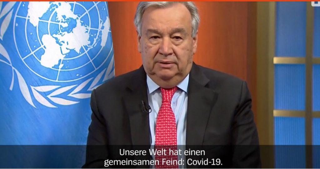 UN-Generalsekretär Guterres' Friedensappell- Screenshot Der Spiegel 24.03.2020