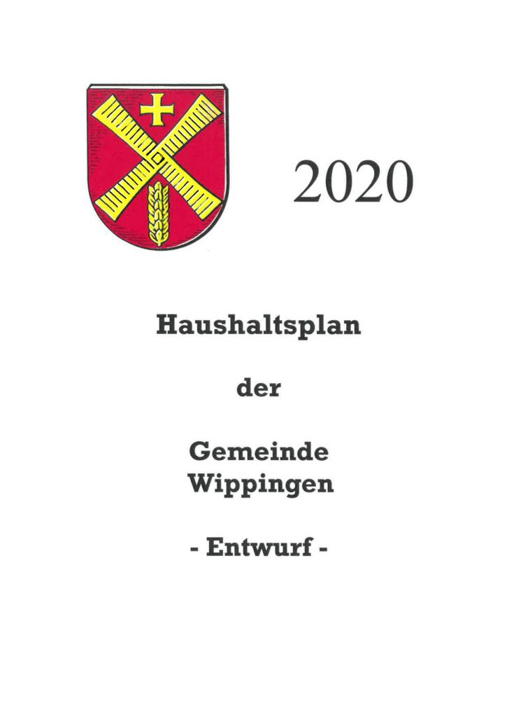 Haushaltsplan der Gemeinde Wippingen 2020