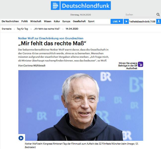 Deutschlandfunk - Interview mit Notker Wolf am 14.04.2020