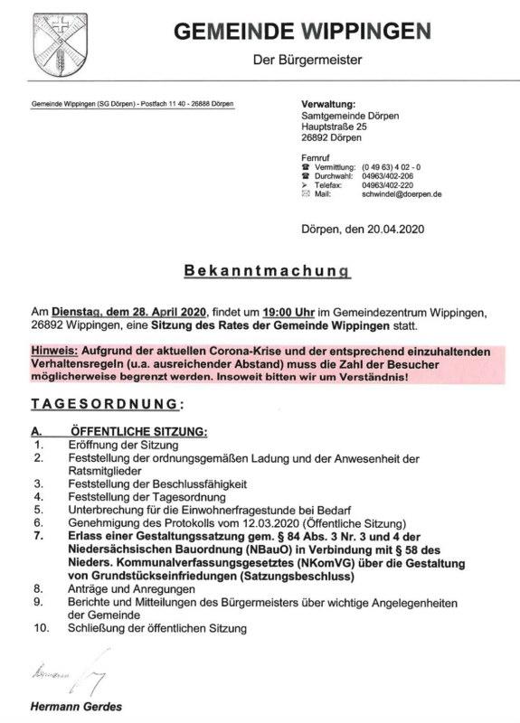 Einladung zur Gemeinderatssitzung