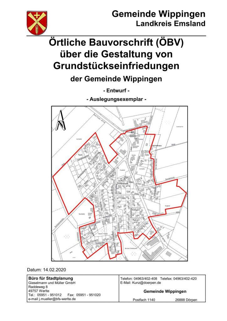 Erste Seite der Satzung über die Gestaltung von Grundstückseinfriedungen der gemeinde Wippingen 2020