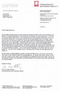 Dankesbrief der Caritas Berlin an die Wippinger Maskennäherinnen 05-2020