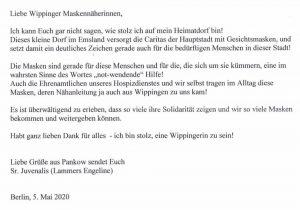 Dankesbrief von Engeline Lammers (Schwester Juvenalis) an die Maskennäherinnen 05-2020